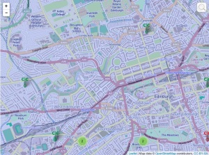 zoomed into the West End of Edinburgh - see the markers for individual CCs