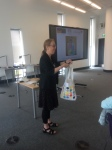 photo of Hazel Hall demonstrating the spotty bag in which nice things were kept