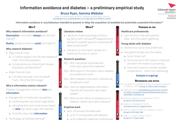 poster on 'information avoidance and diabetes' project
